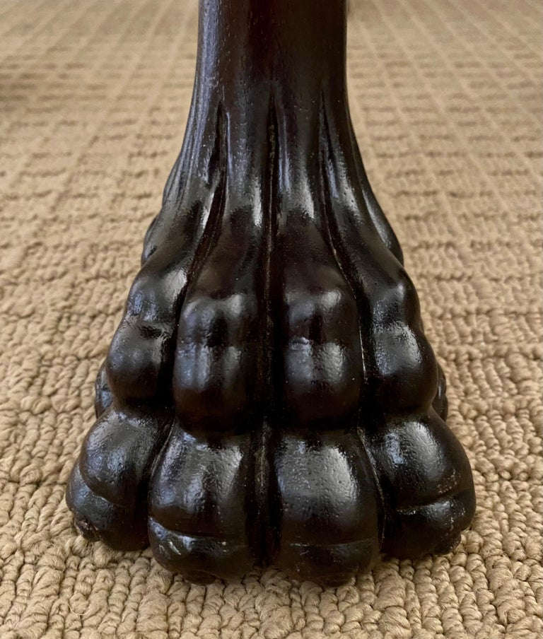 Wood Carved Claw Paw Foot Acanthus Leaf Side End Table by Hickory Chair For Sale