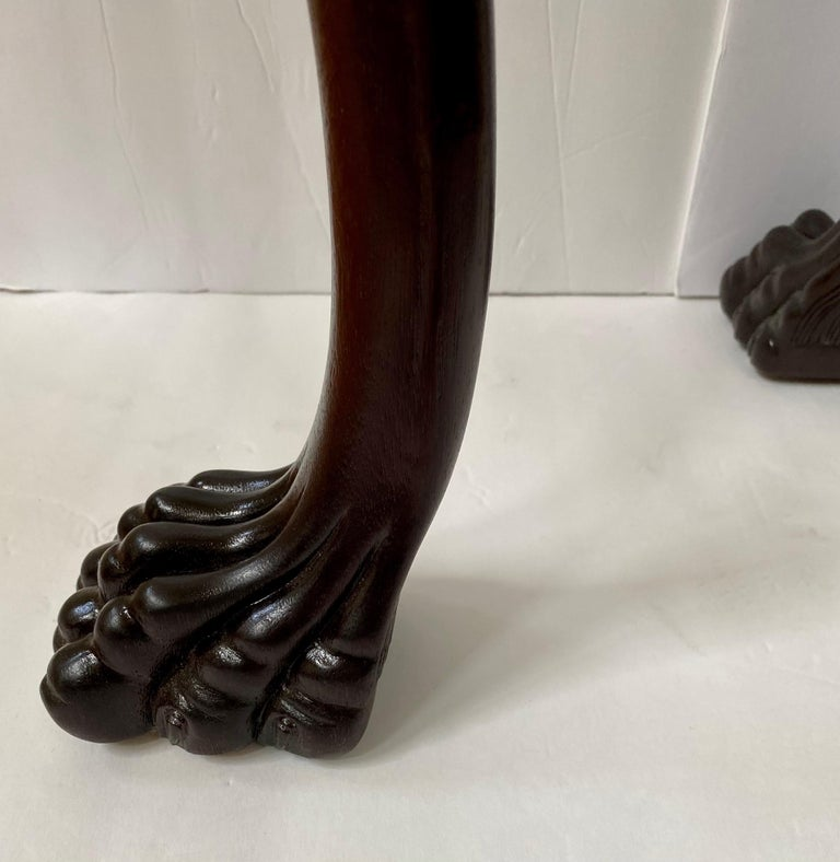 Carved Claw Paw Foot Acanthus Leaf Side End Table by Hickory Chair For Sale 2