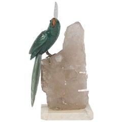 Carved Cockatiel Bird on Quartz Sculpture