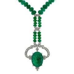 Carved Colombian Emerald 13.32 Carat Diamond Emerald Beads Drop Necklace
