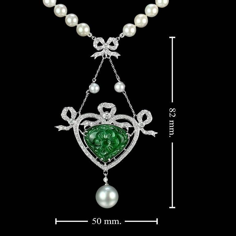 Carved Colombian Emerald 13.70 Carat Akoya Pearl Diamond Drop Necklace For Sale 4