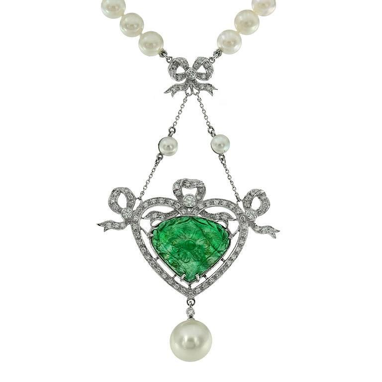Carved Colombian Emerald 13.70 Carat Akoya Pearl Diamond Drop Necklace For Sale