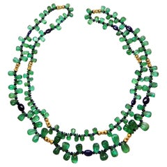 Carved Colombian Emerald and Blue Sapphire Beads White Diamond Gold Necklace