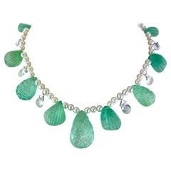 Carved Colombian Emerald and Pearl Necklace
