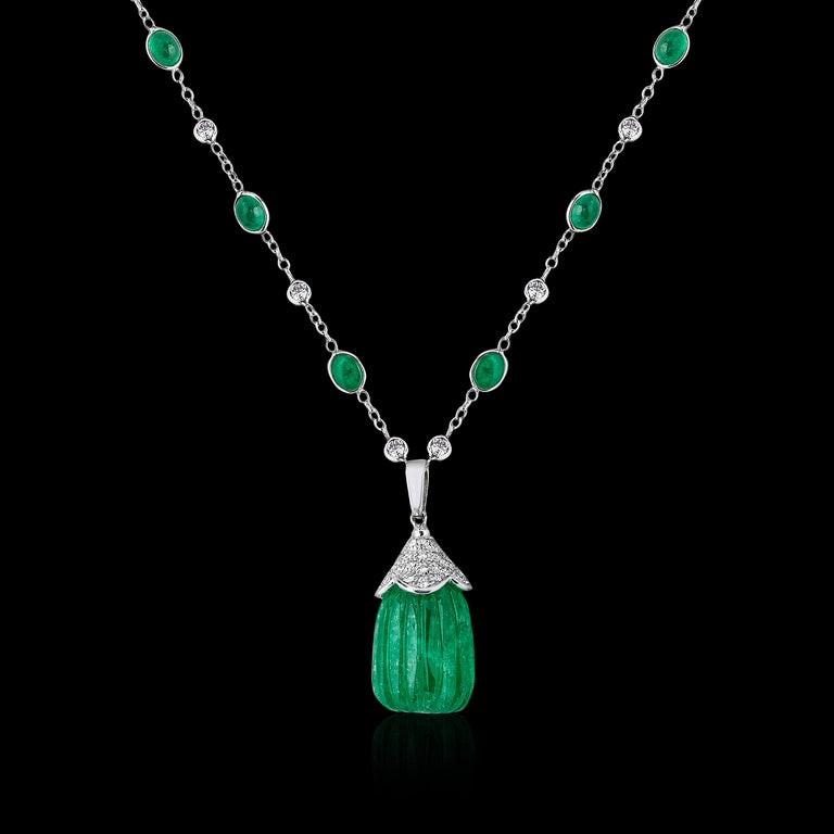 Contemporary Carved Colombian Emerald Drop Pendant Emerald Cabochon and Diamond 18k Andreoli For Sale