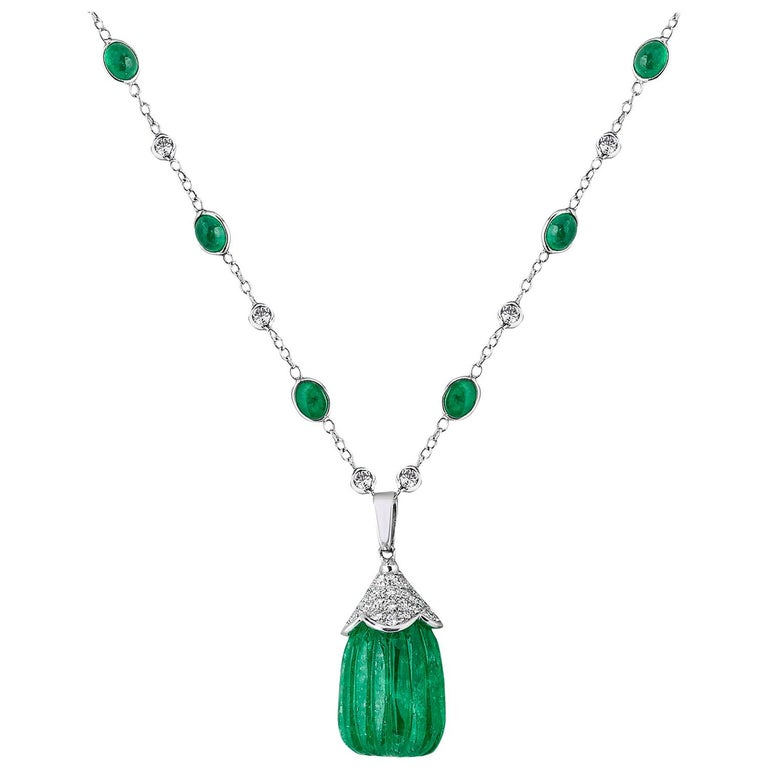 Carved Colombian Emerald Drop Pendant Emerald Cabochon and Diamond 18k Andreoli For Sale