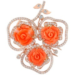 Carved Coral 18 Karat Gold Diamond Brooch