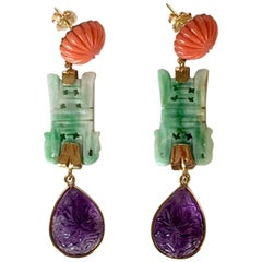 Carved Coral Carved Jade Carved Amethyst 18 Karat Gold Dangle Earrings