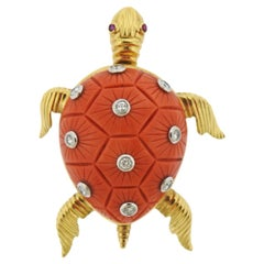 Carved Coral Diamond Ruby Gold Turtle Brooch