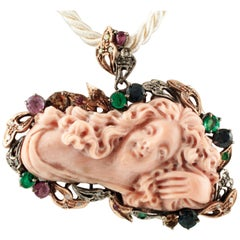 Engraved Pink Coral, Diamonds, Emeralds, Rubies, Sapphires,Gold-Silver Pendant