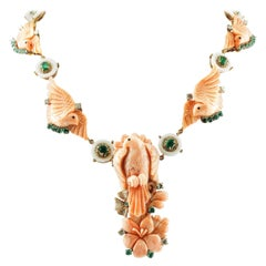 Engraved Pink Coral,Diamonds,Emeralds, White Agate Rings,Rose Gold Necklace