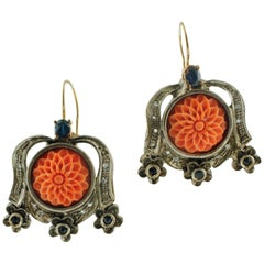 Carved Coral, Diamonds, Sapphires, 9 Karat Rose Gold and Silver Retro Earrings