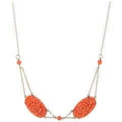 Carved Coral Flower Necklace Vintage 10 Karat Yellow Gold
