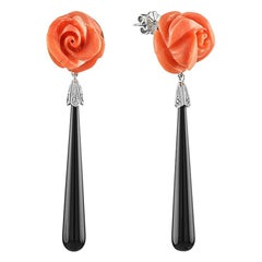 Carved Coral Flower Onyx Diamond 14 Karat W/G Earrings