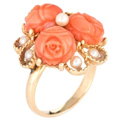 Carved Coral Flower Ring Pearl 14 Karat Gold Cluster Jewelry Estate Cocktail