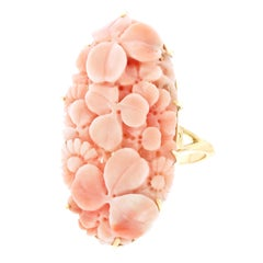 Carved Coral Ring 18 Karat, circa 1890s