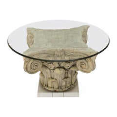 Carved Corinthian Capital Cocktail Table on Lucite Base
