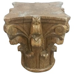 Carved Corinthian Style Wood Base / Pedestal