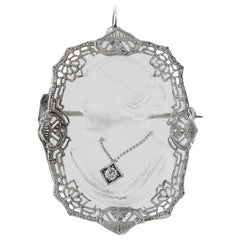 Carved Crystal with Diamond Pendant and Pin