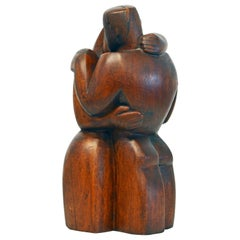 Carved Cubist Style Mahogany Sculpture 'Farewell' by Clara Shainess, 1896-1987