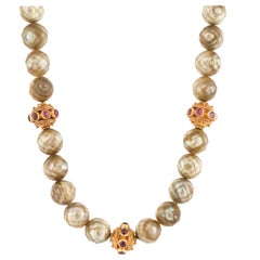 Carved Cultured Pearl Necklace with Gold Beads
