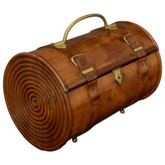 Carved Cylindrical Fruitwood Box, circa 1900