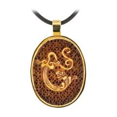 Carved Dragon Yellow Gold Enhancer Pendant
