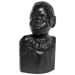 Carved Ebonized Wood Bust of a African Woman by Ferdinand Parpan