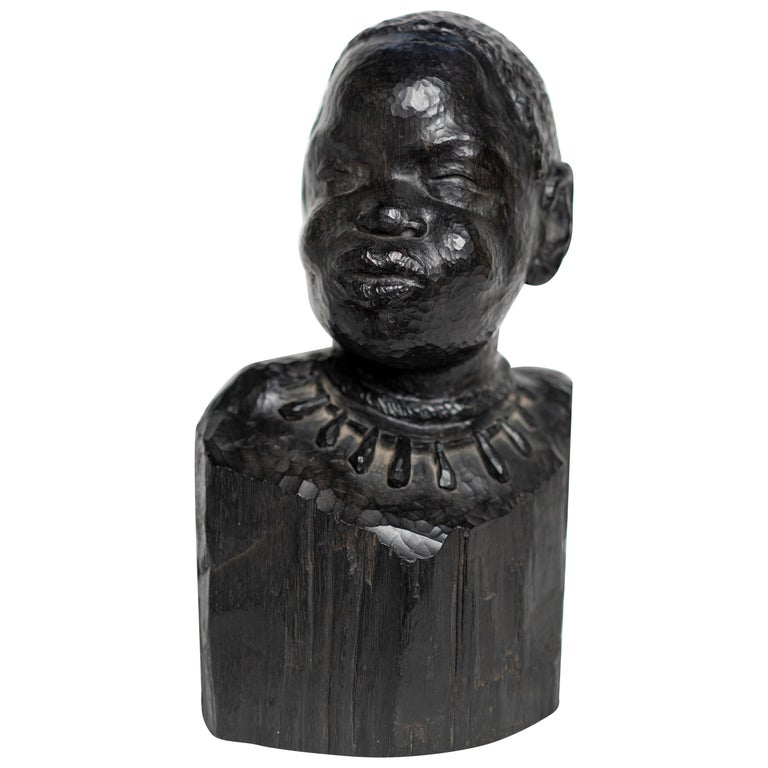 Carved Ebonized Wood Bust of a African Woman by Ferdinand Parpan For Sale