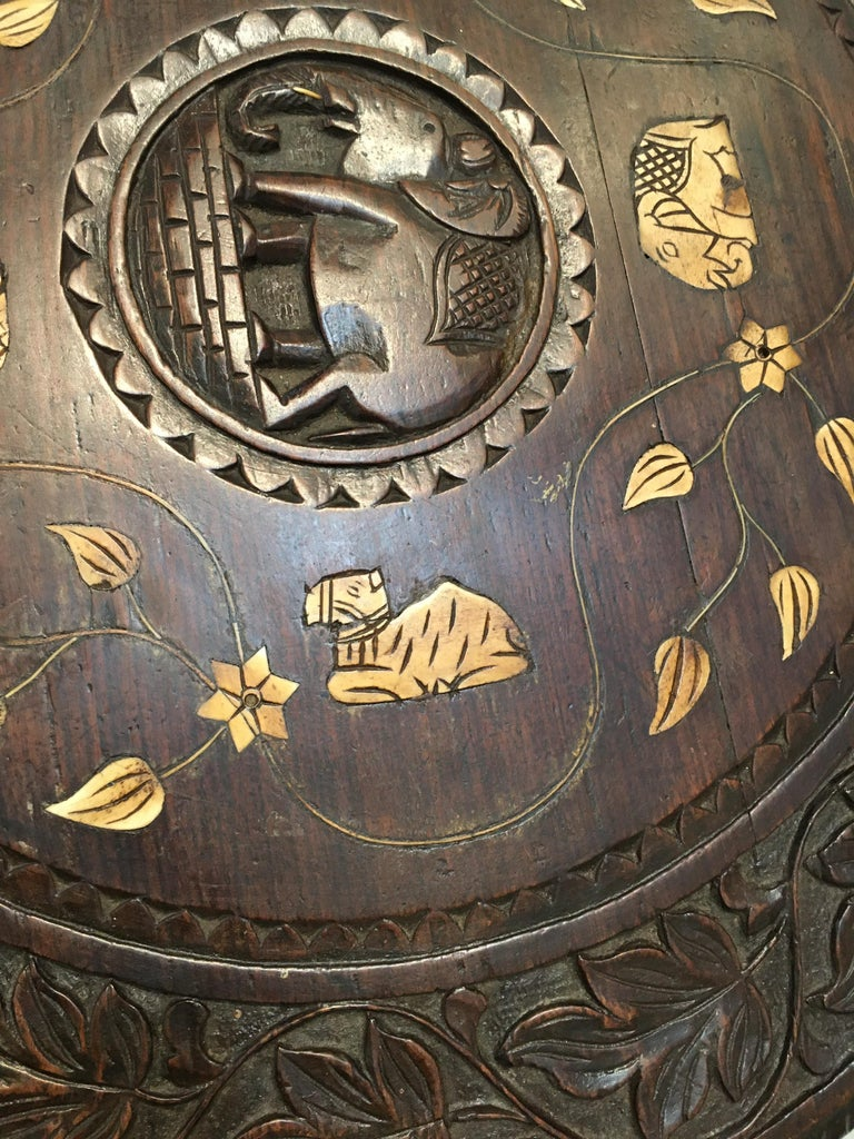 20th Century Carved Ebonized Wood Elephant Side or Center Table, circa 1900, India For Sale