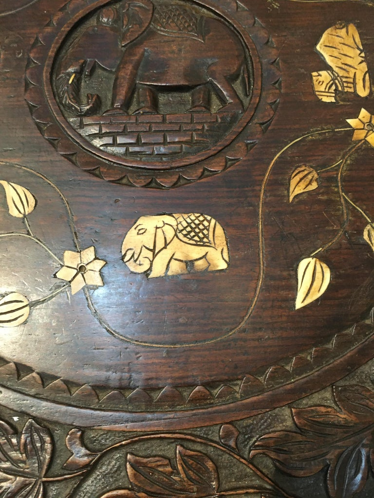 Teak Carved Ebonized Wood Elephant Side or Center Table, circa 1900, India For Sale