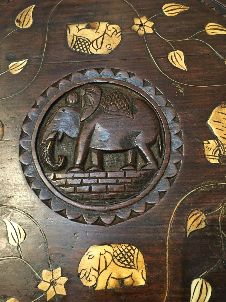 Carved Ebonized Wood Elephant Side or Center Table, circa 1900, India For Sale 1