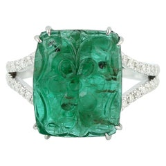 Carved Emerald 18 Karat Gold Diamond Ring