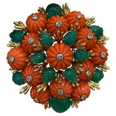 Carved Emerald and Coral Brooch by David Webb