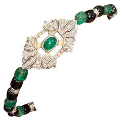 Carved Emerald and Diamond Art Deco Bracelet