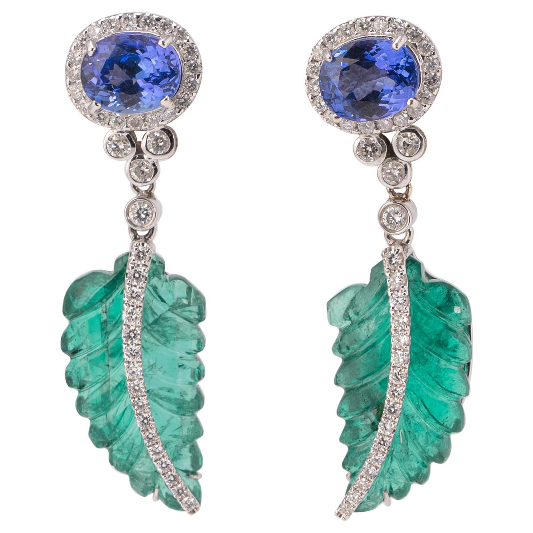 Carved Emerald and Tanzanite Dangle Earring