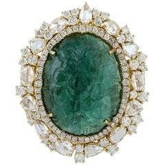 Carved Emerald Diamond 18 Karat Gold Cocktail Ring