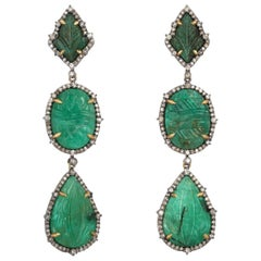 Carved Emerald Diamond Earrings