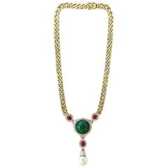 Carved Emerald Diamond Pearl and Ruby Bridal Drop Necklace 18 Karat Gold