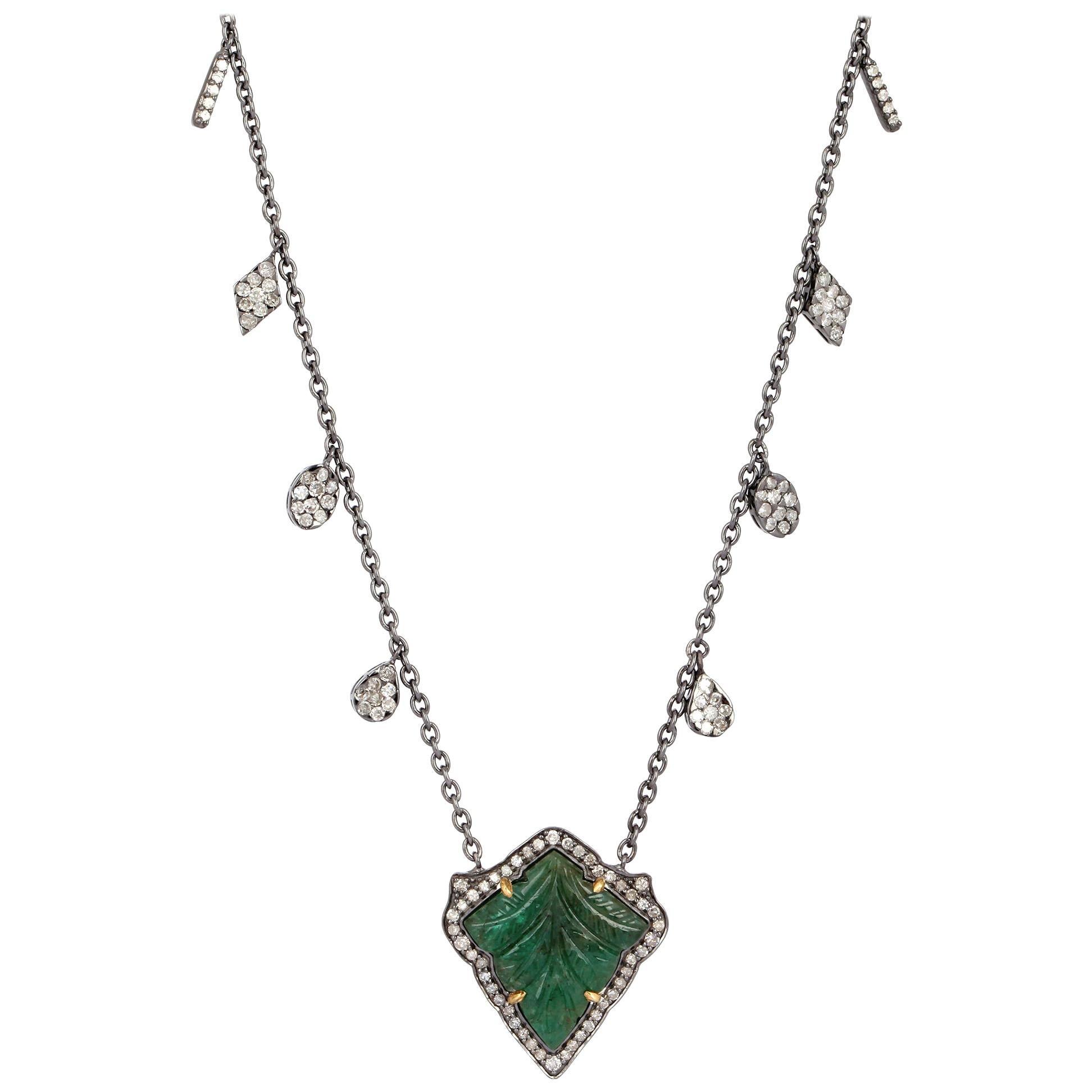 Carved Emerald Diamond Pendant Necklace