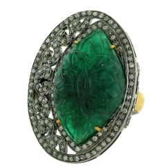 Carved Emerald Diamond Ring in Gold and Silver