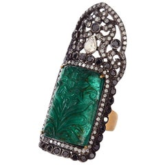 Carved Emerald Knuckle Ring with Diamond Pave Around