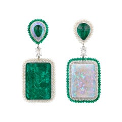 Carved Emerald, Opal and Diamond Earrings