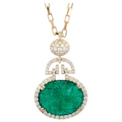 Carved Emerald Pendant with Diamonds