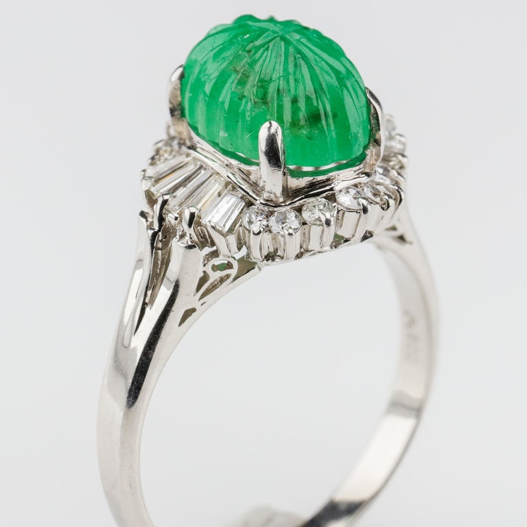 Emerald Ring with Diamonds in Platinum 5