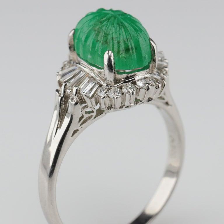 Emerald Ring with Diamonds in Platinum 6
