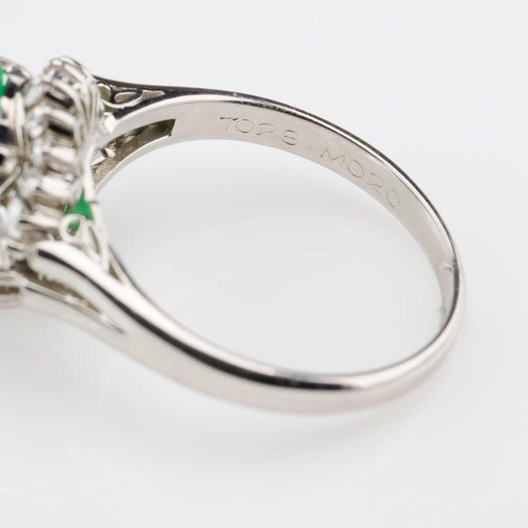 Emerald Ring with Diamonds in Platinum 7