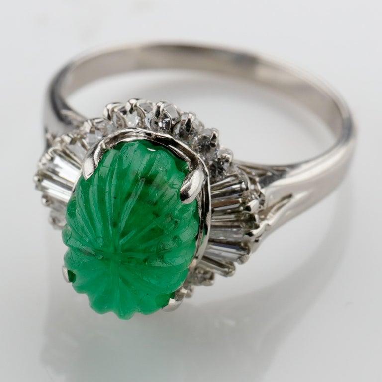 Emerald Ring with Diamonds in Platinum 9