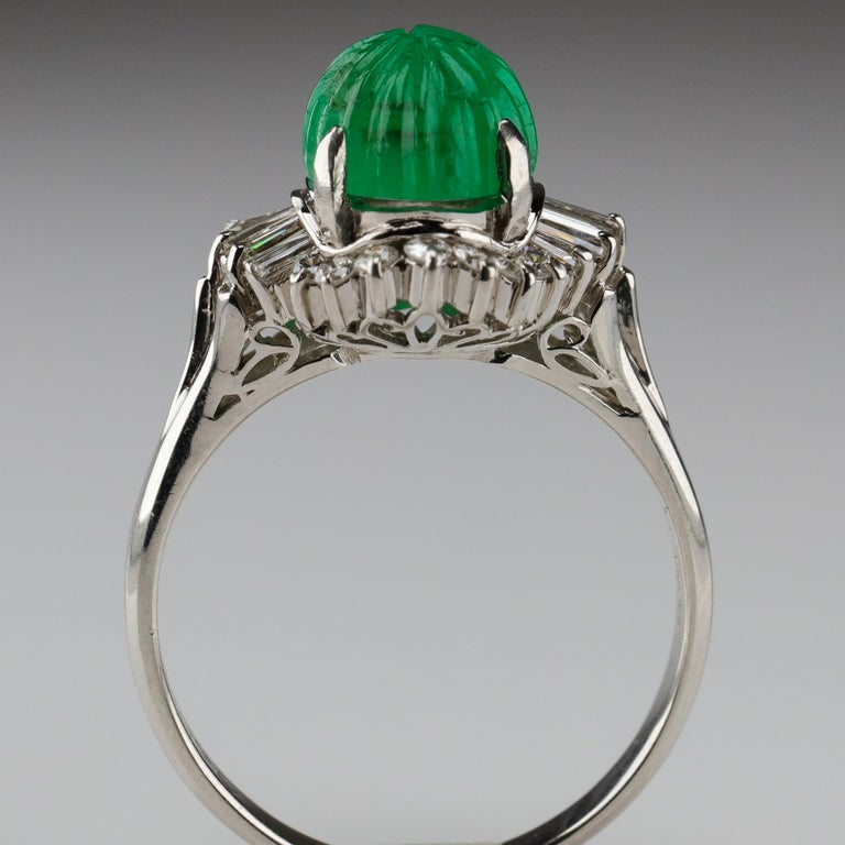 Emerald Ring with Diamonds in Platinum 13