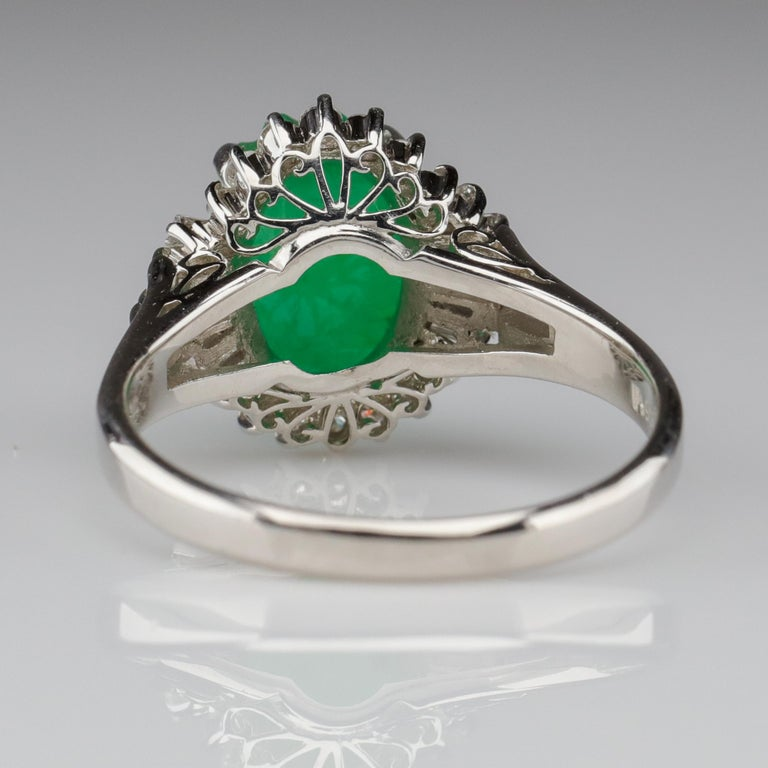 Emerald Ring with Diamonds in Platinum 2